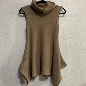 She + Sky Cowl Neck Ribbed Knit Tank Top Small